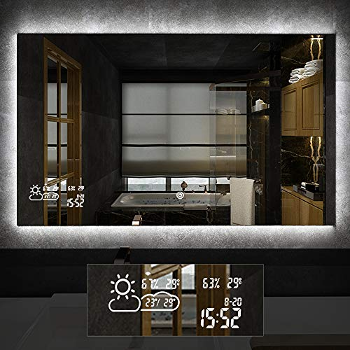 Horizontal Vanity Bathroom Mirror with LED Light Touch Switch Demister Weather Forecast Lighted Makeup Mirror Wall Mounted Mirror- 39.4