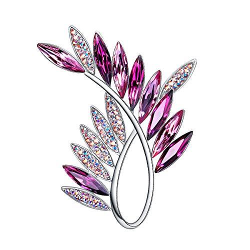 Pin Crystal Jewelry Swarovski Fashion - RAINBOW BOX Purple Brooch Pins with Swarovski Crystal Jewelry Fashion Women's Brooches & Pins