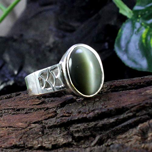 (Natural cats eye quartz mens ring 925 sterling silver ring natural gray green oval cabochon ring gemstone august birthstone jewelry handmade jewelry)