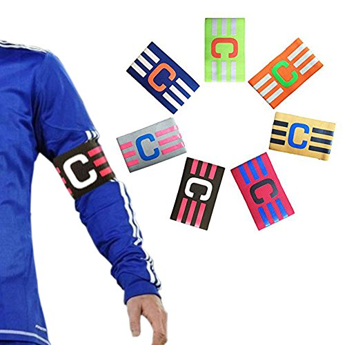 Zaptex Football Soccer Adjustable Elastic Captain Armband Pack of 7 (Mix, One Size)