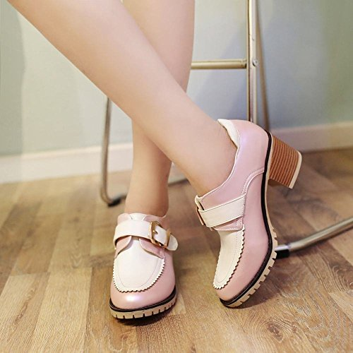 Pink Date Fashion Mid Colors Chunky Cute Heel Buckle Casual Womens Carolbar Assorted Shoes xYZT7Sn4