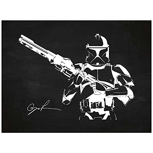 Inked and Screened Sci-Fi and Fantasy Star Wars Characters: Stormtrooper Print, Chalkboard - White Ink