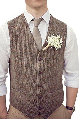 Mens Premium Wool Blend Tweed Herringbone Slim Fit Wedding Tuxedo Waistcoat Suits ()