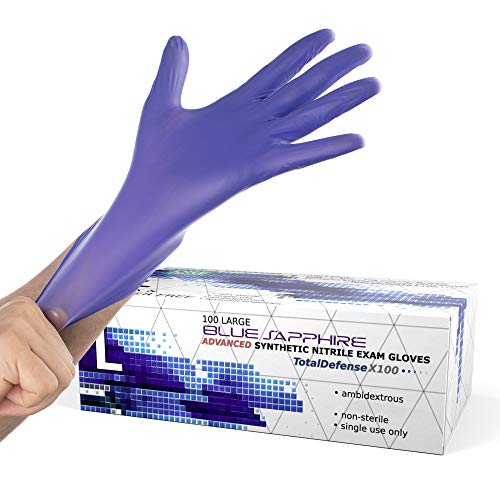 Powder Free Disposable Gloves Large – 100 Pack – Nitrile and Vinyl Blend Material – Extra Strong, 4 Mil Thick – Latex…