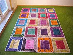 Alfombra en patchwork multi 157 169x237 cm hogar - Alfombras dormitorio amazon ...