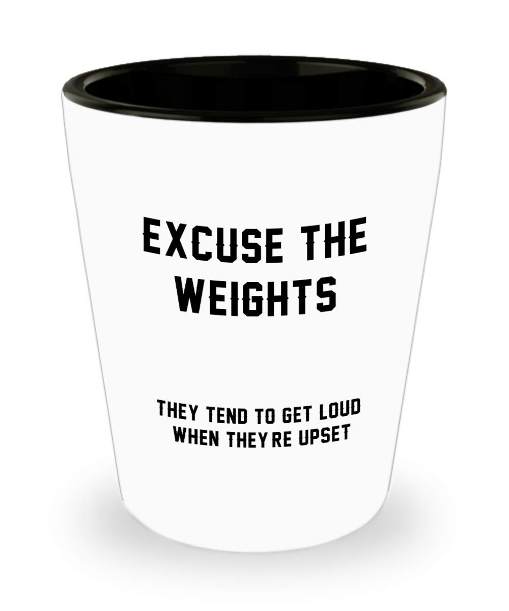 Amazon.com | Weight Watchers Shot Glass - Excuse the weights Cup - Funny Lifter Fitness Gifts and Sarcasm: Shot Glasses