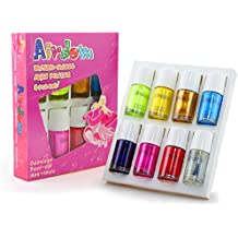 Nail Polish Kids Set Girl Toys Gifts- Airdom Water Based Nontoxic Low Odor Safe Natural Peel-Off Quick Dry Nail Varnish Art Best Gifts for Kids Girls including 7 Bright Colors with 1 Top & Base Coat