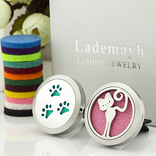 2 Design Car Essential Oil Diffuser Vent Clip - Cute Cat & Paws Stainless Steel Diffuser Locket with 12 Felt Pads by Lademayh