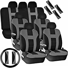 U.A.A. Inc. SC-102V-GR Universal Polyester Seat Steering Covers Van Combo -Gray