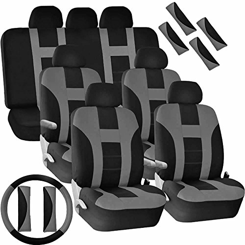 U.A.A. INC. Full Set Seat Covers Split Bench Steering Wheel Shoulder Belt Pads Universal-fit for Van -Gray