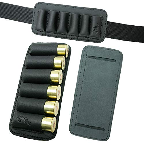 One Cartridge 12 Gauge - Shell Holder Shotgun Ammo Pouch Retro 12 16 Gauge Genuine Leather Bullet Wallet Cartridge Bag Ammunition Carrier Hunting Accessories (Black)