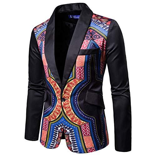 AOWOFS Men's Print One Button Slim Fit Blazer Ethnic Style Party Fashion Dress Suit Jacket Black