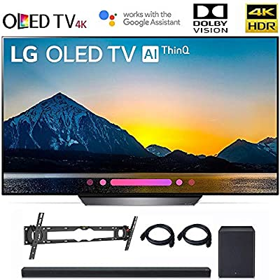 "LG OLED65B8PUA 65"" Class B8 OLED 4K HDR AI Smart TV 2018 Model, LG SK8Y 2.1 ch High Res Audio Sound Bar, Wall Mount, 2HDMI Cables. LG Authorized Dealer."