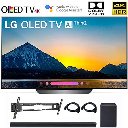 LG OLED65B8PUA 65″ Class B8 OLED 4K HDR AI Smart TV OLED65B 2018 Model, LG SK8Y 2.1 ch High Res Audio Sound Bar, Wall Mount, 2HDMI Cables. LG Authorized Dealer.