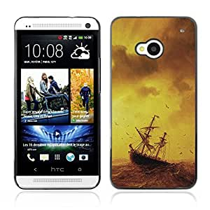 Graphic4You Ship On The Storm Sea Design Hard Case Cover for HTC One (M7)
