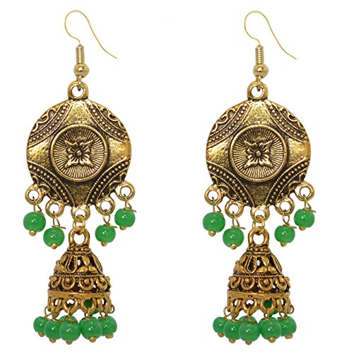 Earrings Beaded Indian Style (Sansar India Oxidized Antique Golden Beaded Jhumka Jhumki Indian Earrings Jewelry for Girls and Women)