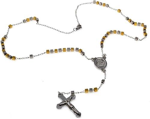 Perles De Chapelet Acier Inoxydable Collier Collier Croix De Jésus Bénédiction Catholique Perles De Chapelet Crucifixion Bracelet Chaîne Amazon Fr Bijoux