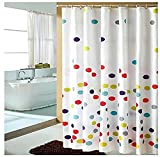 Polka Dot Curtains Multi-color Polka Dots Pattern Fabric Shower Curtain ,Waterproof/ No More Mildews Bathroom Curtains with Free Hooks