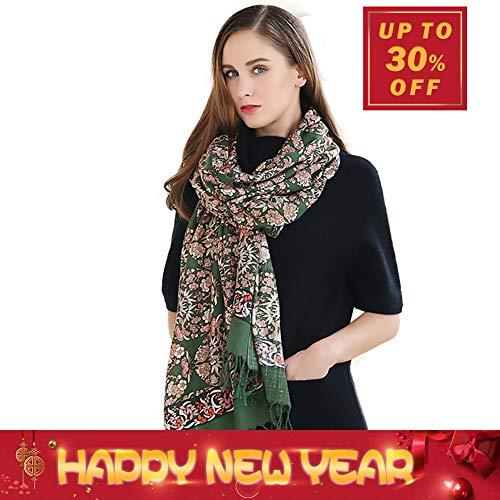 (DANA XU Pure Wool Women Winter Large Scarf Pashmina Shawls and Wraps (Dark green))