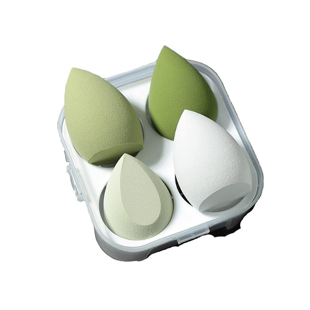 Dry And Wet Use Blender Puffs(4pcs)-Pink Serious Blender Sponge 3D Beauty Egg For Make Up(Green)
