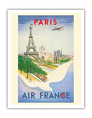 Paris France - Eiffel Tower - Air France - Vintage Airline Travel Poster by Régis Manset c.1947 - Fine Art Print - 11in x 14in