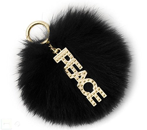 Michael Kors Black Fox Fur Peace Pom Pom Keychain Charm (Key Kors Chain Michael Gold)