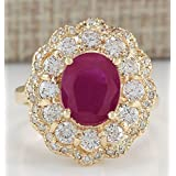 Fashion Women Jewelry Ruby & White Topaz 18K Yellow Gold Filled Proposal Ring (8)