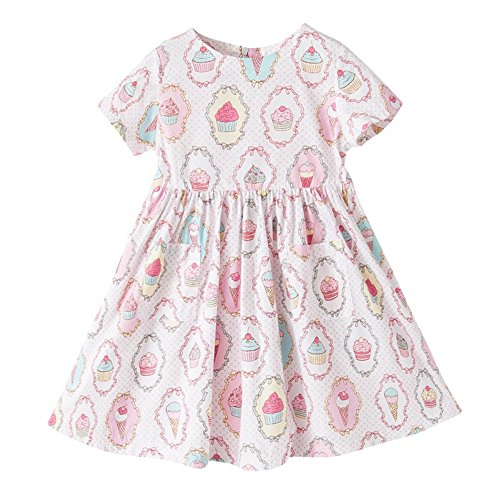 Price comparison product image Big Girls Ice Cream Print Cotton Dress Kids Summer Cute Clothing, Size 5-12Y (5/6Y)
