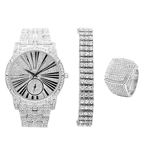 Bling-ed Out 3 Row Tennis Men's Bracelet with Hip Hop Roman Numeral Dial Silver Watch and Bling Ring - L0503S3RT3Set(10)