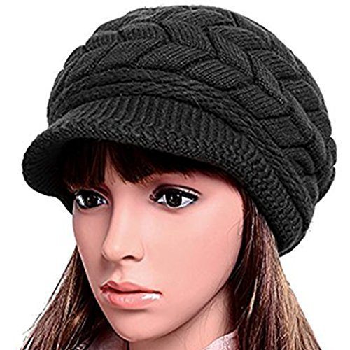 Women Lady Braided Warm Cabled Knit Winter Beanie Crochet Hats Newsboy Caps  Black 4460196dd40