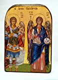 Handmade Wooden Greek Christian Orthodox Mount Athos Icon of Archangels Michael and Gabriel /Mp2
