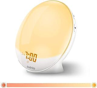 Wake Up Light, Cadrim Radiosveglia FM Sveglia Doppia Sveglia + Cavo USB, Touch Control, Simulazione Sunrise/Sunset, Radio FM, 7 Suoni Naturali, 7 Colori