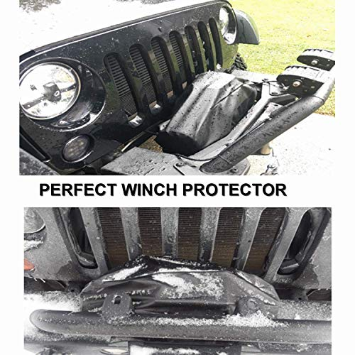 """Black Waterproof Winch PU Leather Cover Winch Cover 24/""""W x 10/""""H x 7/""""D Dust-Proof Universal Winch Protective Cover for Electric Winches Up to 17500 Lbs"""