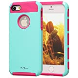 iphone 5s Case, iphone 5 Case, TPU + Pc Dual Layer Hybrid Fashion Shockproof Soft Hard Defender Case Cover for Apple iphone 5/5s (Mint green- hot pink)