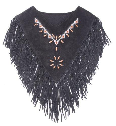 Western Piel Goertrud Ante Con Adornado Negro Única Collar Flecos Utah Poncho Talla q544wd
