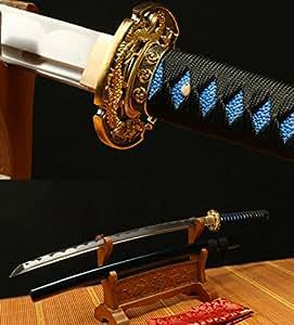 BLUE SAYA DRAGON TSUBA 1060 CARBON STEEL HANDMADE JAPANESE SAMURAI KATANA SWORD