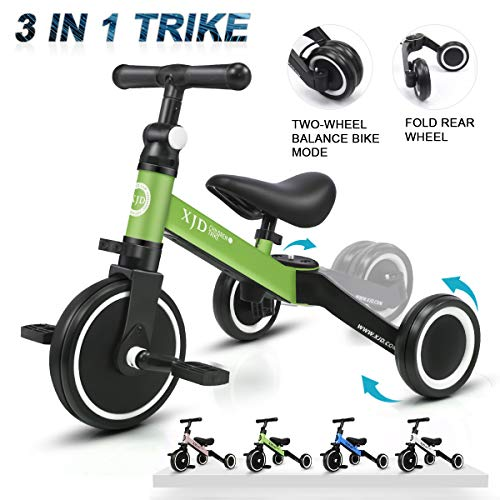 Best Deals! XJD 3 in 1 Kids Tricycles for 1-3 Years Old Kids Trike 3 Wheel Toddler Bike Boys Girls T...