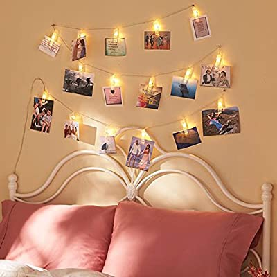 Twinkle Star 40 Photo Clips String Lights Battery Operated & Remote Control Fairy String Lights with Clips for Hanging Pictures, Cards, Artwork