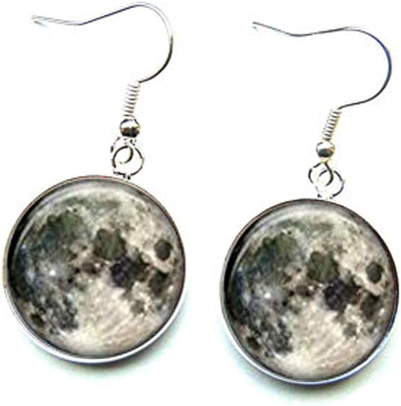 Pendientes de luna completa, pendientes de gota de luna, joyería de luna completa, artesanía de cristal cúbico, hechos a mano