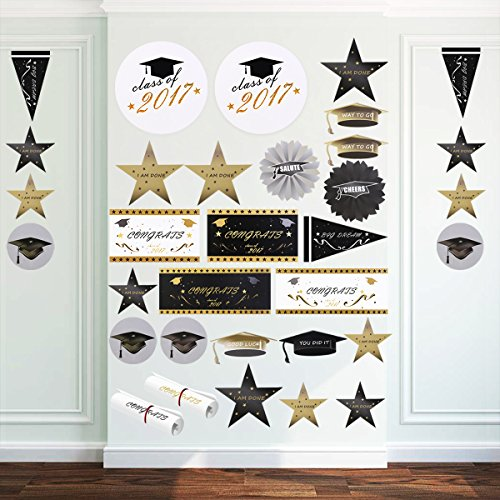 PBPBOX 2017 Graduation Decoration 40 Pcs Wall Decals Scene Setter Grad Cap Stickers