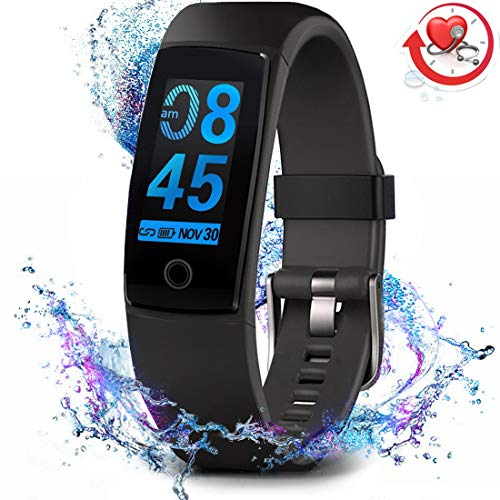 MorePro Fitness Tracker Waterproof Activity Tracker with Heart Rate Blood Pressure Monitor, Color Screen Smart Bracelet with Sleep Tracking Calorie Counter, Pedometer Watch for Kids Women Men,Black (Best Wearable Calorie Counter)