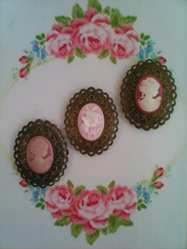 Victorian Cameo Magnets, Set of 3, Cameo Cabochon Magnets, Antique Bronze Metal Cameo Magnet Set, Oval Magnets, Shabby Cottage (Cameo Magnet)