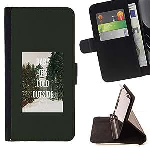 For Samsung Galaxy S4 Mini i9190 (NOT S4) Case , Cold Outside Invierno Ray Bosque- la tarjeta de Crédito Slots PU Funda de cuero Monedero caso cubierta de piel
