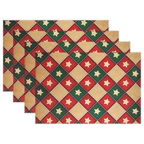 Retro Grunge America Flag Placemats Set of 6 for Kitchen Table Heat Resistant Washable Table Mats,12