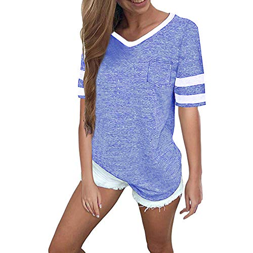 (OMSJ Womens Summer Tops Casual Short Sleeve T-Shirts (S, Light Blue))