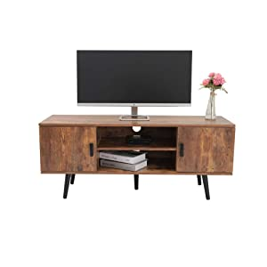 Iwell Mid-Century Modern TV Stand for Living Room, TV Console Storage Cabinet, Retro Home Media Entertainment Center for Flat Screen TV Cable Box Gaming Consoles, in Entertainment Room Office, Brown