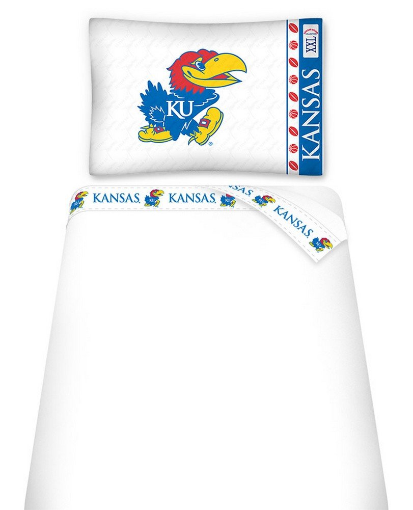 White Sports Coverage NCAA Kansas Jayhawks Micro Fiber Sheet Set King
