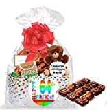 64th Birthday / Anniversary Gourmet Food Gift Basket Chocolate Brownie Variety Gift Pack Box (Individually Wrapped) 12pack