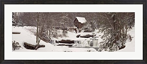 Glade Creek Grist Mill in winter, Babcock State Park, West Virginia by Panoramic Images Framed Art Print Wall Picture, Espresso Brown Frame, 44 x 19 inches