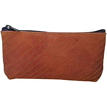Brown RK Genuine Leather Stationery Make-up Wrap Case Pouch Tobacco Battery Headphone Holder Pen Bag Pencil Case Makeup Pouch